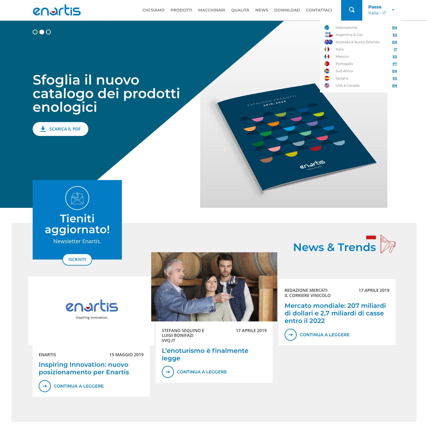 La Nuova Home Page Del Sito Enartis Realizzato Da Dual